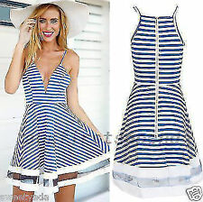 Nautical Sailor Spaghetti Strap Women's Cocktail Party Striped Fit Flare Dress