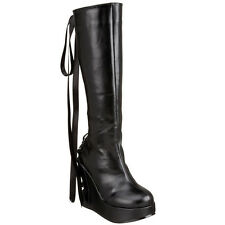 DEMONIA BRAVO-106 Women Platform Goth Lolita Punk Corset D-Ring Wedge Knee Boots
