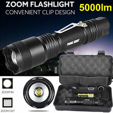 Shadowhawk 5000LM Zoomable XML T6 LED Tactical Flashlight Battery Charger Box