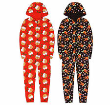 Childrens Festive Christmas Fleece Onesie Hooded All In One Pyjamas Sleepsuit