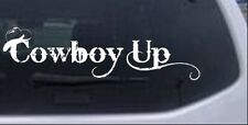 Cowboy Up With Hat Car or Truck Window Laptop Decal Sticker 12X3.5