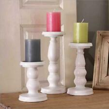 White Metal Carved Pillar Church Candle Holder Xmas Wedding Home Table Decor