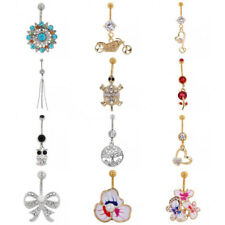 Crystal Heart/Flower Dangle Navel Belly Button Ring Bar Body Piercing Jewelry