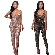 Sexy Womens Sequins Bodycon V-neck Jumpsuit Romper Club Backless Playsuit Pants