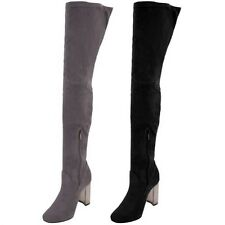 Ladies Thigh High Over The Knee Suede Chunky Block Metallic Shiny Heel Boots