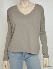 James Perse Boxy V-Neck Pullover Sweater Top WXT3963 Ghost/Berry Nwt $115