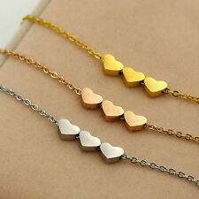 Stainless steel Women Jewelry three Heart Charms Necklace Pendant Rose Gold