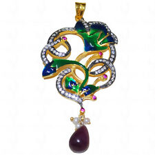 ruby pearl tourmaline & topaz victorian style pendant set in .925 silver-SP1020