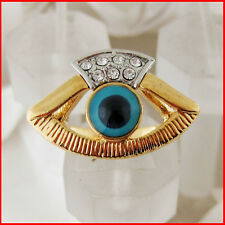 NEW 18K YELLOW WHITE GOLD OVERLAY GP FILL WITH BRASS EVIL EYE CZ RING SIZE 7/8/9