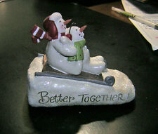 ADORABLE. DEB STRAIN 'BETTER TOGETHER' SNOWMAN & SNOWCHILD ON SLED FIGURINE