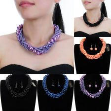 Fashion Jewelry Resin Pearl Chain Chunky Choker Statement Pendant Bib Necklace