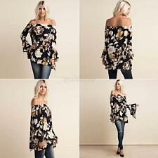 Fashion Boho Womens Sexy Off Shoulder Floral Blouse Casual Loose Tops T-Shirt