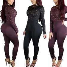 2017Sexy New Women Ladies See through Beading Party Club Jumpsuit Playsuit Pants