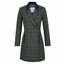 Jack Murphy Womens Ren Tweed Coat Long Line Moleskin Roll Collar Equestrian Top