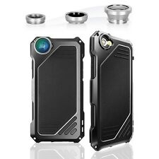 4IN1 Fisheye Camera Lens Metal Wide Angle Macro Case For iPhone 7 6 plus 5 Case