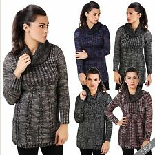 Womens Knitted Turtle Neck Long Jumper Ladies Casual Tunic Sweater Pullover Top