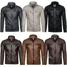 BOLF Men's Faux leather jacket Sweater Transition Quilted Mix 4D4 Biker