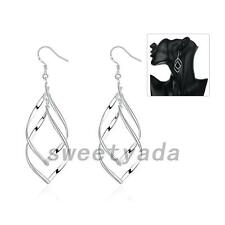 Silver Plated Leaf Pierced Ear Dangle Drop Earrings Eardrop Fashion Jewelry Gift