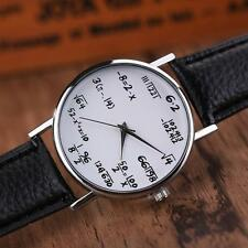 Fashion Women Mens Math Operation Leather Stainless Steel Watch Wrist Watches