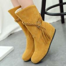 New Women Lady Flat Heel Mid Calf Boots Faux Suede Tassel Casual Boots Shoes Sz@