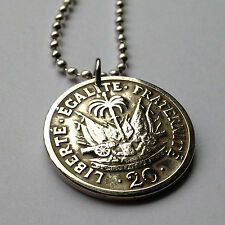Haiti 20 centimes coin pendant Haitian necklace cannons Port-au-Prince n001669