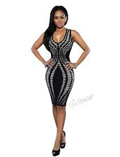 Sexy Women Lady Sleeveless Stripe Print Bodycon Dress Party Club Cocktail Dress