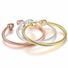 Gold/silver/rose gold Twist Stainless Steel Cuff Bangle Bracelet Men Jewelry New