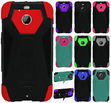 For Sprint HTC BOLT Turbo Layer HYBRID KICKSTAND Rubber Case Cover +Screen Guard