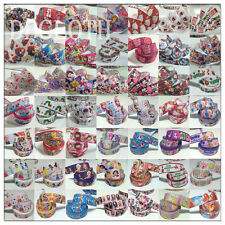 5 10 Yards 7/8'' 1'' Cute Bows Printed Grosgrain Ribbon Hair Clips Crafts UK DC