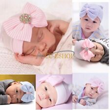 Newborn Baby Infant Girls Rhinestone Hospital Cap Beanie Hat Big Bow Photo Prop