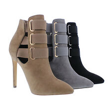 LILIANA GF14 Women's Pointed Toe Elastic Straps Cut Out Stiletto Ankle Booties