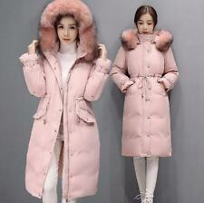 New Womens Fur Hooded Duck Down Jacket Long Winter Parka Overcoat Warm Coat @1