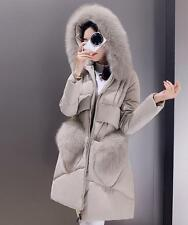 womens thicken duck down hooded fur coat Jacket warm slim parka outerwear Sz@1