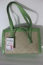 LIz Claiborne Avocado Green Croc Embossed Straw Womens Handbag Purse Tote Bag