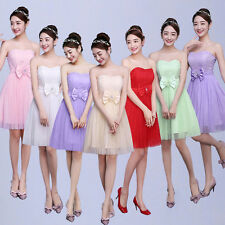 Women Strapless Bowknot Bridesmaid Short Dress Lady Party Evening Cocktail Gowns