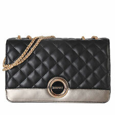 Diophy Quilted Faux Leather Small 2-tone Multi-compartment Shoulder Handbag