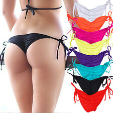 HOT Brazilian Scrunch Women Ruched Thong Ladies Bikini Bottom Side-Tie Swimwear