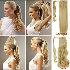Long Ponytail Clip In Hair Extension Wrap Pony Tail Fake Hairpiece human made AC
