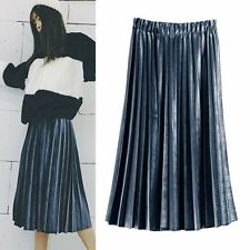 Sexy Womens Skater Flared Pleated Swing Long Skirt Sexy Stretch High Waist Dress