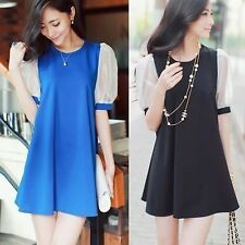 Crew Neck Puff Sleeve Womens Shift Straight Cocktail Prom Party Mini Dress Tops