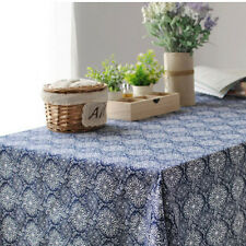 Cotton Linen Print Blue White Round Circle Flower Handmade Tablecloth Cover G