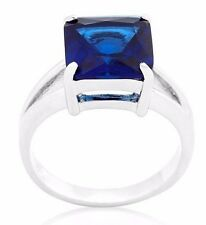 Silver Plated Simulated Sapphire Cocktail Ring Blue Cubic Zirconia Size 6 7 8 10
