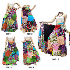 Skirt SDB11-15 Thailand Cotton Patchwork Long Sun Wrap Sarong Boho Gypsy Hippie