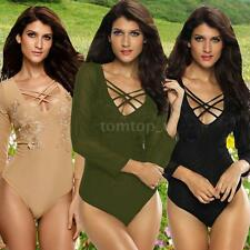 Women Long Sleeve Sheer Mesh Bodysuit Jumpsuit Clubwear  Playsuit Rompers R9X1