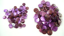 24 PURPLE Dyed Flat Round Shell Charms Pendants Coin Drops 10mm/15mm