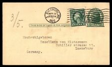 Baltimore Md Apr 19 1922 Us Jefferson Uprated 1C Issue Card To Lueneburg Germany