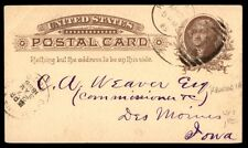1885 One Cent Brown Postal Stationery Card To Des Moines Iowa