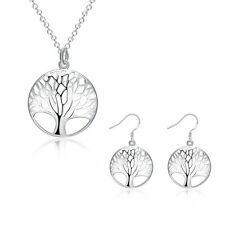 Women Gifts Fashion Jewelry Tree of Life Pendant Silver Plated Necklace Earring