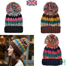 Warm Winter Cable Knit Beanie Chunky Woolly Bobble Ski Hat Mens Womens Valentine