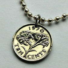 Bermuda 10 cents coin pendant  Lily necklace flower jewelry blossom rose n000141